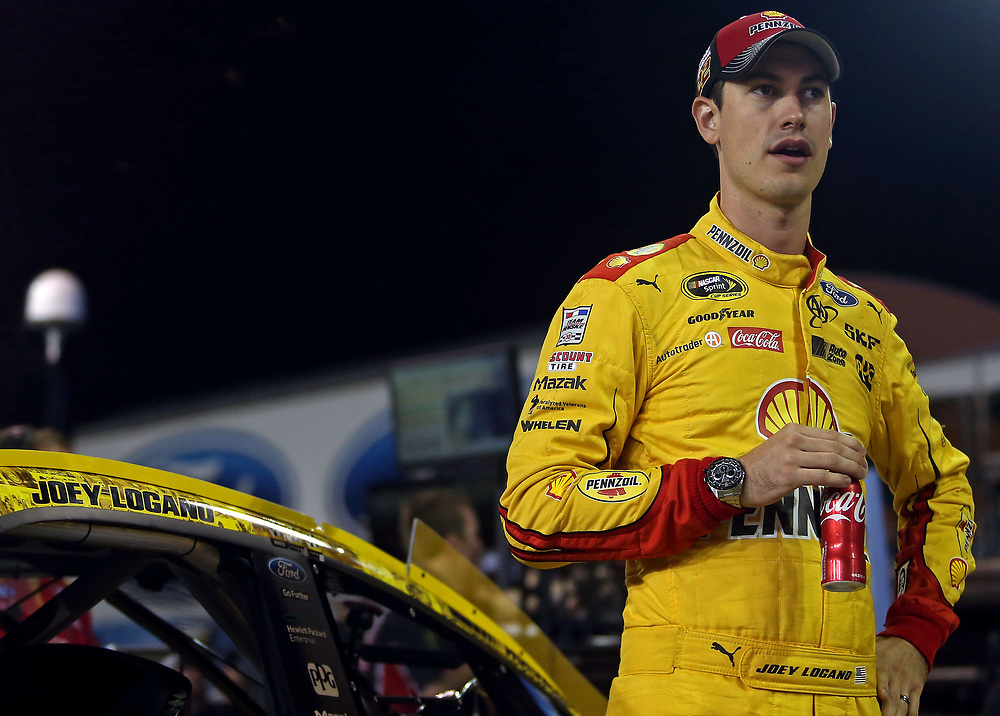 Nov 18, 2016; Homestead, FL, USA; NASCAR Sprint Cup Series driver Joey Logano (22) during qualifying for the Ford Ecoboost 400 at Homestead-Miami Speedway. Mandatory Credit: Peter Casey-USA TODAY Sports