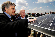 PowerLight CEO Tom Dinwoodie talks with U.S. ambassador to the Portugal, Alfred Hoffman