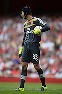 Goalkeeper Petr Cech of Arsenal  looks on. Barclays Premier League, Arsenal v West Ham Utd at the Emirates Stadium in London on Sunday 9th August 2015.<br /> pic by John Patrick Fletcher, Andrew Orchard sports photography.