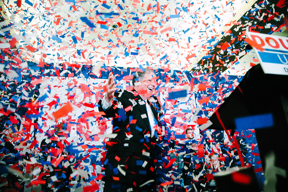 BIRMINGHAM, AL – DECEMBER 12, 2017: Doug Jones, the Democratic candidate in the Alabama special Senate election, celebrates victory and thanks his supporters at the Sheraton Hotel in downtown Birmingham. CREDIT: Bob Miller for The New York Times