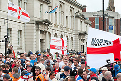 """EDL supporters outside Rotherham Town Hall before the start of the English Defence Leagues Justice for the Rotherham 1400 March on Saturday Afternoon described by an EDL Facebook Page as """"a protest against the Pakistani Muslim grooming gangs"""" on Saturday Afternoon <br /> <br /> <br /> Image © Paul David Drabble <br /> www.pauldaviddrabble.co.uk"""