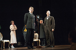 © Licensed to London News Pictures. 26/03/2012. London, UK. Playful Productions and Michael Alden present the stage production of The Kings Speech, by David Seidler, at Wyndhams Theatre, London.Picture shows: Emma Fielding as Queen Elizabeth, Charles Edwards as Bertie (King George VI) Jonathan Hyde as Lionel. Photo credit : Tony Nandi/LNP