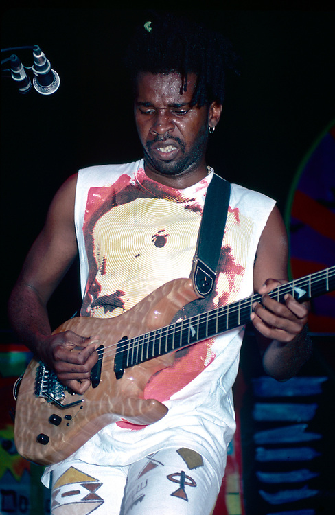 STANHOPE - AUGUST 14: Guitarist Vernon Reid of Living Colour performs during Lollapalooza at Waterloo Village on August 14, 1991 in Stanhope, New Jersey. (Photo by Lisa Lake/Getty Images)
