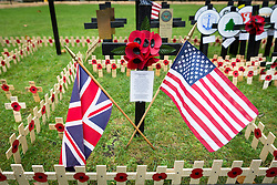 © Licensed to London News Pictures. 09/11/2016. London, UK. The Union Jack and American Flag are seen on a memorial to the Iraq War at The Royal British Legion Poppy Factory Field of Remembrance in Westminster Abbey, London. Remembrance Sunday is at the end of this week, 13 November. Photo credit : Tom Nicholson/LNP