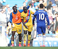 Crystal Palace's Mamdou Sakho celebrates at the final whistle  with Bakary Sako during the Premier League match at the Stamford Bridge Stadium, London. Picture date: April 1st, 2017. Pic credit should read: David Klein/Sportimage via PA Images