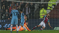Football - 2016 / 2017 FA Cup - Third Round: West Ham United vs. Manchester City <br /> <br /> Adrian of West Ham cannot reach the ball as Sergio Aguero of Manchester City  score his teams 4th goal at The London Stadium.<br /> <br /> COLORSPORT/DANIEL BEARHAM