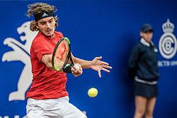 April 29, 2018 - Barcelona, Catalonia, Spain - STEFANOS TSITSIPAS (GRE) returns the ball to Rafael Nadal (ESP) in the final of the 'Barcelona Open Banc Sabadell'. Nadal won 6:2, 6:1 (Credit Image: © Matthias Oesterle via ZUMA Wire)