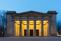 Night view of Neue Wache , New Guardhouse, on Unter den Linden in Mitte, Berlin, Germany (Central Memorial of the Federal Republic of Germany for the Victims of War and Dictatorship)
