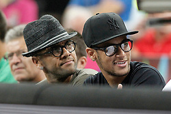 11.09.2014, City Arena, Barcelona, ESP, FIBA WM, USA vs Litauen, Halbfinale, im Bild FC Barcelona's players Daniel Alves and Neymar Santos Jr // during FIBA Basketball World Cup Spain 2014 semi-final match between United States and Lithuania at the City Arena in Barcelona, Spain on 2014/09/11. EXPA Pictures © 2014, PhotoCredit: EXPA/ Alterphotos/ Acero<br /> <br /> *****ATTENTION - OUT of ESP, SUI*****