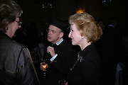 Father Ronald Creighton-Jove and Daphne Dormer. Book party to celebrate the publication of ' How the King of Scots Won the Throne of England in 1603 by Leanda de Lisle. St. Wilfred's Hall. Brompton Oratory. London. 9 May 2005. ONE TIME USE ONLY - DO NOT ARCHIVE  © Copyright Photograph by Dafydd Jones 66 Stockwell Park Rd. London SW9 0DA Tel 020 7733 0108 www.dafjones.com