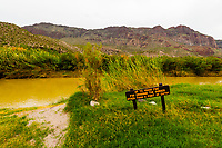 Rio Grande RIver (which is the border between USA and Mexico, Mexico is in background), Big Bend National Park, Texas USA.