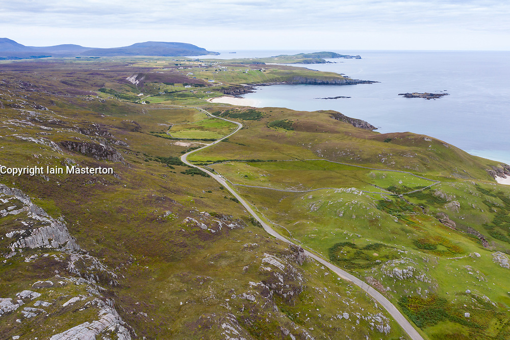 Aerial view of highway part of North Coast 500 tourist route near Durness in Sutherland, Highland Region, Scotland UK
