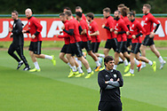 Wales manager Chris Coleman looks on during the Wales football team training at the Vale Resort in Hensol, near Cardiff , South Wales on Tuesday 29th August 2017.  the team are preparing for their FIFA World Cup qualifier home to Austria this weekend.  pic by Andrew Orchard, Andrew Orchard sports photography