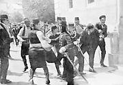 Assassination of Archduke Francis Ferdinand (Franz Ferdinand) 1863-1914, heir to the Austrian throne, at Sarajevo 28 June 1914. The arrest on the scene of Gavrilo Princip (1895-1918) the assassin.