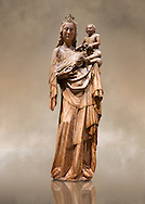 Gothic wood statue of Virgin and Child by tan anontmous Catalan Artist. Carved alabaster with remains of polychrome and gold leaf. Date Second half of 14th century. Dimensions 117.5 x 38.6 x 28.4 cm.  Probably comes from Sanaüja (Segarra). National Museum of Catalan Art, Barcelona, Spain inv no: 004359-000 .<br /> <br /> If you prefer you can also buy from our ALAMY PHOTO LIBRARY  Collection visit : https://www.alamy.com/portfolio/paul-williams-funkystock/gothic-art-antiquities.html  Type -     MANAC    - into the LOWER SEARCH WITHIN GALLERY box. Refine search by adding background colour, place, museum etc<br /> <br /> Visit our MEDIEVAL GOTHIC ART PHOTO COLLECTIONS for more   photos  to download or buy as prints https://funkystock.photoshelter.com/gallery-collection/Medieval-Gothic-Art-Antiquities-Historic-Sites-Pictures-Images-of/C0000gZ8POl_DCqE