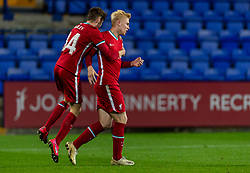 BIRKENHEAD, ENGLAND - Tuesday, September 29, 2020: Liverpool's Luis Longstaff celebrates after scoring the second goal to level the score at 2-2 with team-mate Conor Bradley during the EFL Trophy Northern Group D match between Tranmere Rovers FC and Liverpool FC Under-21's at Prenton Park. Tranmere Rovers won 3-2. (Pic by David Rawcliffe/Propaganda)