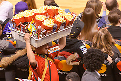 January 11, 2019 - Toronto, Ontario, Canada - popcorn peddler during the Toronto Raptors vs Brooklyn Nets NBA regular season game at Scotiabank Arena on January 11, 2019, in Toronto, Canada (Toronto Raptors win 122-105) (Credit Image: © Anatoliy Cherkasov/NurPhoto via ZUMA Press)