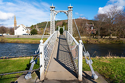 View of River Tweed and Priorsford footbridge in Peebles in the Scottish Borders, Scotland,UK