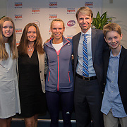 August 16, 2014, New Haven, CT:<br /> Caroline Wozniacki poses for a photograph with Danish diplomats after a match against Timea Bacsinszky on day four of the 2014 Connecticut Open at the Yale University Tennis Center in New Haven, Connecticut Monday, August 18, 2014.<br /> (Photo by Billie Weiss/Connecticut Open)
