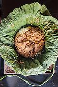 Dry beef curry in lotus leaf (sakhkor saraman) at Malis restaurant, Phnom Penh