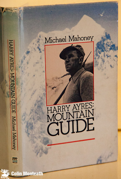 HARRY AYRES: MOUNTAIN GUIDE, - Michael Mahoney, 1st Edn 1982. Whitcoulls, Christchurch, original blue cloth, VG+ inside with previous owner's sig on fep, sl chipped original dustjacket . Foreword by Ed Hillary. Ayres was New Zealand's pre-eminent guide during 1940s and 50s -  plus his involvement at Scott base during Trans-Antarctic expedition - a fine biography by Father Mahoney, himself a guide who knew Ayres well.  SIGNED BY MIKE MAHONEY $NZ75.