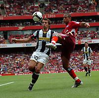 Photo: Tony Oudot/Richard Lane Photography.  Juventus v SV Hamburg. Emirates Cup. 03/08/2008. <br /> Alessandro Del Piero of Juventus is challenged by Dennis Aogo of Hamburg