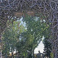 WYOMING. Antler arch in Jackson's town square.