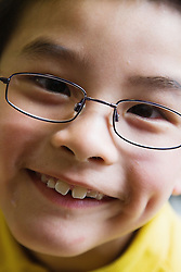 Portrait of boy with cerebral palsy,