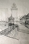 CS00254-103. Will Martin's architectural drawings of Pioneer Square. 1972 – 1974
