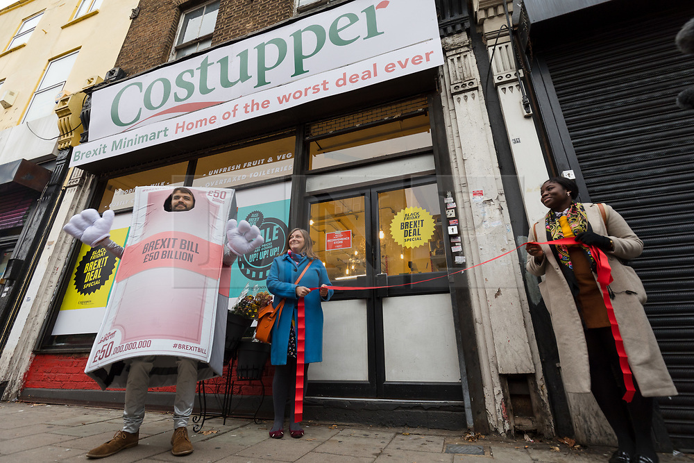 © Licensed to London News Pictures. 23/11/2018. London, UK.  The People's Vote campaign launch a stunt pop-up shop in Peckham High Street on Black Friday to show that the government's Brexit deal is a bad deal and the shop is stocked with household products, such as 'chlorinated' chicken to illustrate the bad deal. Photo credit: Vickie Flores/LNP