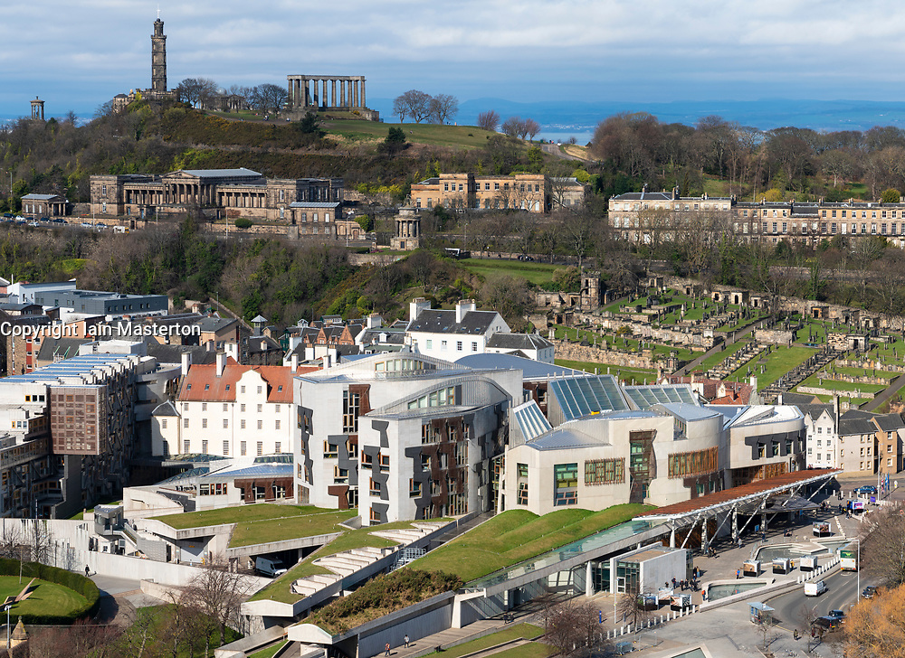 General view of the Scottish Parliament building at Holyrood in Edinburgh, Scotland, UK