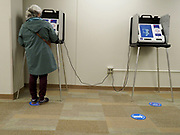 Early voters use secure, newly purchased touch screen voting machines that are not connected with the internet.