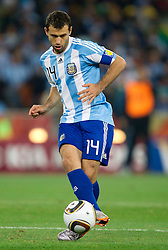 Javier Mascherano of Argentina during the 2010 FIFA World Cup South Africa Round of Sixteen match between Argentina and Mexico at Soccer City Stadium on June 27, 2010 in Johannesburg, South Africa. Argentina defeated Mexico 3-1 and qualified for quarterfinals. (Photo by Vid Ponikvar / Sportida)