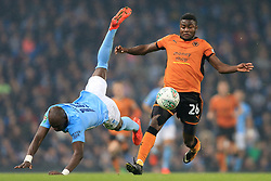 24th October 2017 - Carabao Cup (4th Round) - Manchester City v Wolverhampton Wanderers - Bright Enobakhare of Wolves battles with Eliaquim Mangala of Man City - Photo: Simon Stacpoole / Offside.