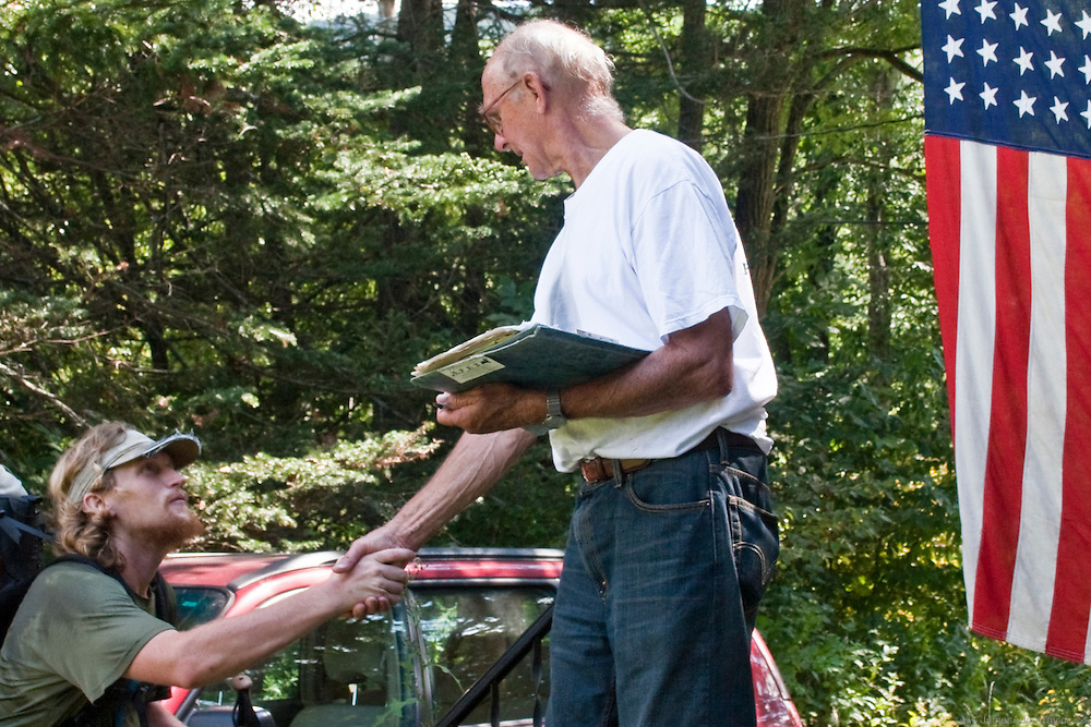 """Thru-Hiker Gordon Bombay is greeted by """"The Ice Cream Man"""", NH"""