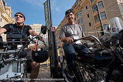Steve Norton (L) of England on his 1904 Rex and Ciro Nisi of Italy on his 1912 Indian on the Atlantic City boardwalk at the start of the Motorcycle Cannonball Race of the Century. Stage-1 from Atlantic City, NJ to York, PA. USA. Saturday September 10, 2016. Photography ©2016 Michael Lichter.
