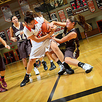 011814  Adron Gardner/Independent<br /> <br /> Gallup Bengal Cheyenne Livingston (32), left, and Cibola Cougar Kimberly Chapman (14) tie up for a jump ball at Gallup High School in Gallup Saturday.