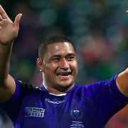 Sakaria Taulafo, Samoa, acknowledges the fans at the end of the game during the South Africa V Samoa, Pool D match during the IRB Rugby World Cup tournament. North Harbour Stadium, Auckland, New Zealand, 30th September 2011. Photo Tim Clayton...