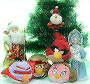 Angry Birds stuffed dolls Christmas celebration on white background