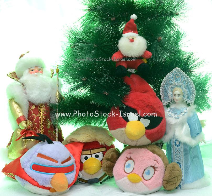 Angry Birds stuffed dolls Christmas celebration on white background