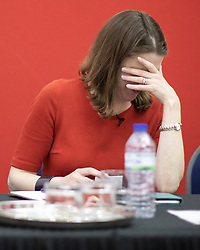 "© Licensed to London News Pictures. 14/06/2019. Manchester, UK. JO SWINSON reacts to Ed Davey jokingly calling for the slogan "" Bugger Boris "" to follow up to "" Bollocks to Brexit "" . The Liberal Democrat Party hold a leadership hustings at the St Thomas Centre in Ardwick , Manchester , between candidates Jo Swinson and Ed Davey . Photo credit: Joel Goodman/LNP"
