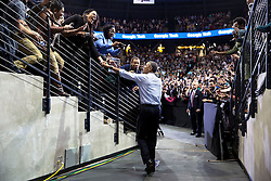 President Barack Obama shakes hands on his way to the stage at Georgia Tech in Atlanta, Ga., March 10, 2015. (Official White House Photo by Pete Souza)<br /> <br /> This official White House photograph is being made available only for publication by news organizations and/or for personal use printing by the subject(s) of the photograph. The photograph may not be manipulated in any way and may not be used in commercial or political materials, advertisements, emails, products, promotions that in any way suggests approval or endorsement of the President, the First Family, or the White House.