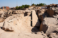 Egypt. Aswan stands on the east bank of the Nile. The unfinished obelisk is the largest known ancient obelisk.
