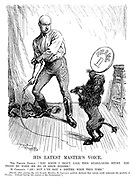 """His Latest Master's Voice. The French Poodle. """"You know I don't like this stabilizing stunt. You tried to make me do it once before."""" M Caillaux. """"Ah! But I've got a better whip this time."""" [Shortly after joining the next French ministry M Caillaux publicly declared that nobody could undertake the portfolio of finance """"without having full control of the government.""""]"""