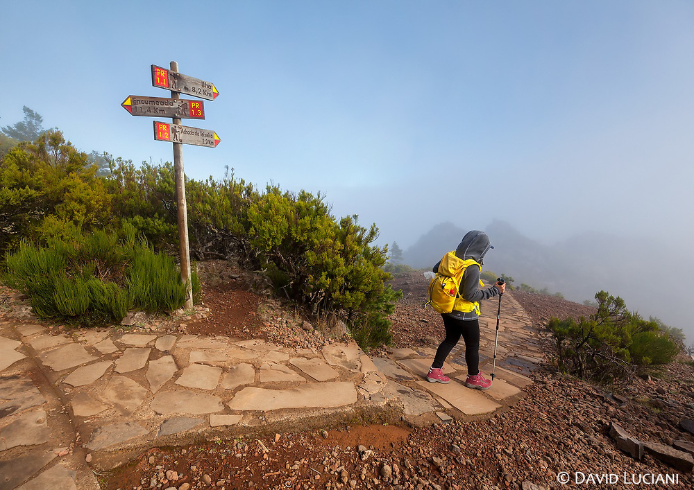 Walking on the well signed path connecting the 11km trek between Pico Ruivo to Pico do Arieiro.