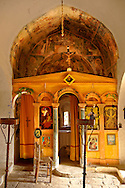Interior of the Byzantine church of the Metamorphosis, Paliachora,  Aegina, Greek Saronic Islands .<br /> <br /> If you prefer to buy from our ALAMY PHOTO LIBRARY  Collection visit : https://www.alamy.com/portfolio/paul-williams-funkystock/aegina-greece.html <br /> Visit our GREECE PHOTO COLLECTIONS for more photos to download or buy as wall art prints https://funkystock.photoshelter.com/gallery-collection/Pictures-Images-of-Greece-Photos-of-Greek-Historic-Landmark-Sites/C0000w6e8OkknEb8