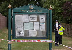 © Licensed to London News Pictures. 08/06/2020. London, UK. Police guard the entrance to Fryent Country Park in Wembley. According to reports, two women were found unresponsive and were pronounced dead at the scene yesterday. Photo credit: Peter Macdiarmid/LNP