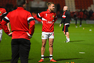 James Coppinger of Doncaster Rovers (26) warming up during the EFL Sky Bet League 1 match between Doncaster Rovers and Sunderland at the Keepmoat Stadium, Doncaster, England on 23 October 2018.