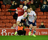 Preston North End's Patrick Bauer vies for possession with Barnsley's Conor Chaplin<br /> <br /> Photographer Chris Vaughan/CameraSport<br /> <br /> The EFL Sky Bet Championship - Barnsley v Preston North End - Tuesday 21st January 2020 - Oakwell - Barnsley<br /> <br /> World Copyright © 2020 CameraSport. All rights reserved. 43 Linden Ave. Countesthorpe. Leicester. England. LE8 5PG - Tel: +44 (0) 116 277 4147 - admin@camerasport.com - www.camerasport.com
