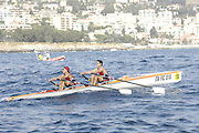 San Remo, ITALY,  Qualification Races, men's double  sculls M2X,  turning on the second bouy.  2008 FISA Coastal World Championships. Friday 17/10/2008. [Photo, Peter Spurrier/Intersport-images] Coastal Rowing Course: San Remo Beach, San Remo, ITALY